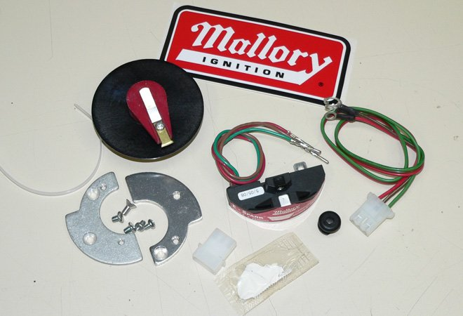 points conversion kits mallory e spark pertronix ignitor here s what s inside the mallory e spark the primary components of the kit are the spark module combination rotor and shutter and the mounting plates